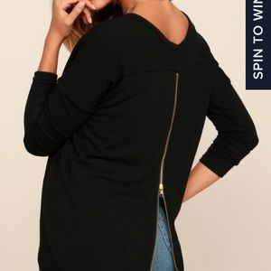 Black sweater with zip back